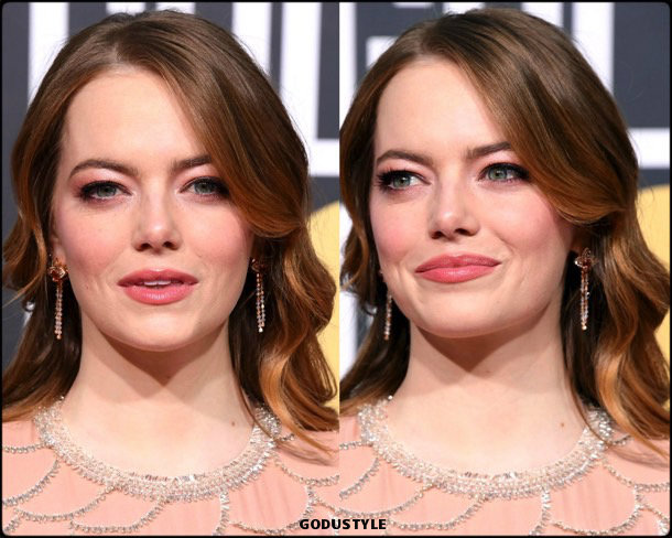 emma stone, golden globes, party looks 2019, red carpets, beauty look, style, details, fashion