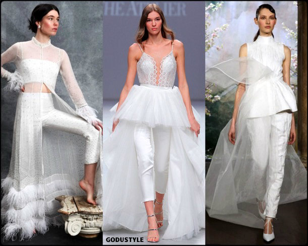 pants, bridal, spring 2020, trends, novias, verano, 2020, tendencias, look, style, details, wedding dress, pantalon