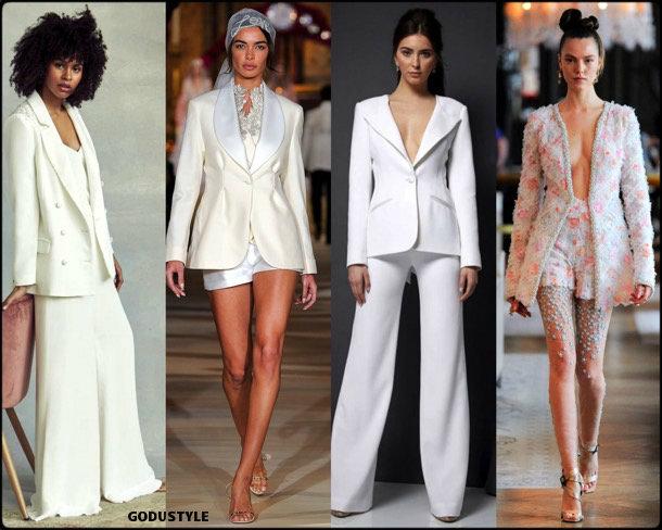 tuxedo, bridal, spring 2020, trends, novias, verano, 2020, tendencias, look, style, details, wedding dress