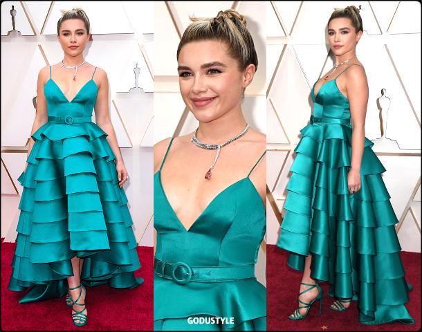 florence pugh, oscars, 2020, red carpet, 2020, look, style, beauty, details, jewelry, accessories, moda, alfombra roja, oscar, belleza, joyas