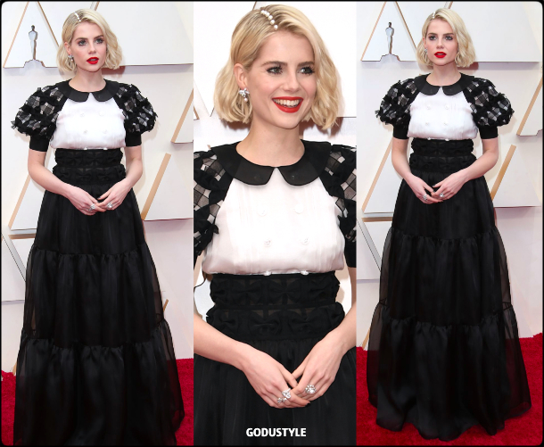 lucy boynton, oscars, 2020, red carpet, 2020, look, style, beauty, details, jewelry, accessories, moda, alfombra roja, oscar, belleza, joyas