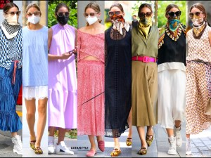 olivia palermo, fashion, looks, street style, scarf, face mask, scarf face mask, summer, 2020, look, style, details, outfit, inspiration, influencer, moda, mascarillas