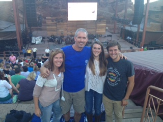 English teacher Mary Mordica and family at the Red Rock Amphitheater in Colorado.