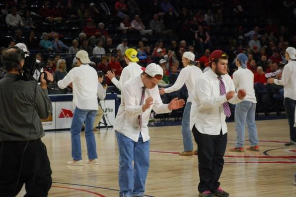 The senior boys mid-dance.
