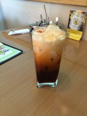 Thai Iced Tea, a popular Thai beverage, served at Elephant Thai Restaurant.