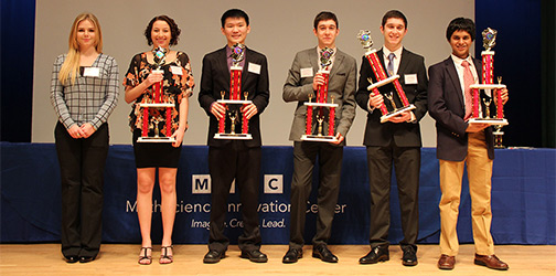 The Grand Prize Winners of MRSF. Juniors David Lu, Micheal and Matthew Retchin are pictured.