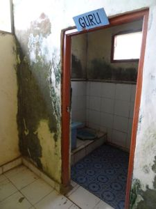 Teachers toilet in Bali village school