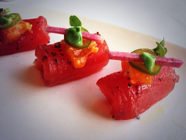 Yellowfin tuna sashimi with avocado mousse at 1500 Ocean