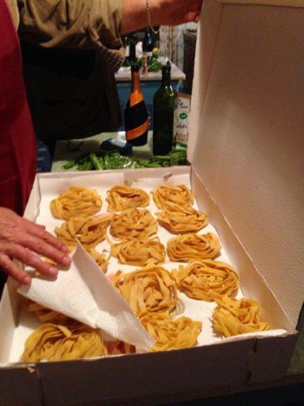 Fresh tagliatelle pasta in Le Marche