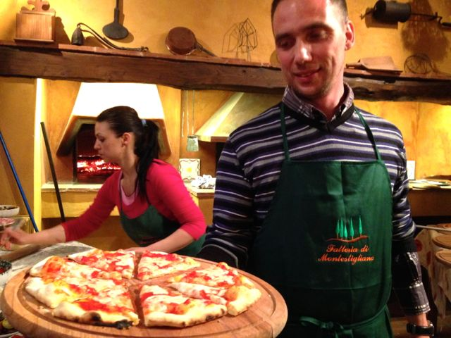 pizza dinner in Tuscany
