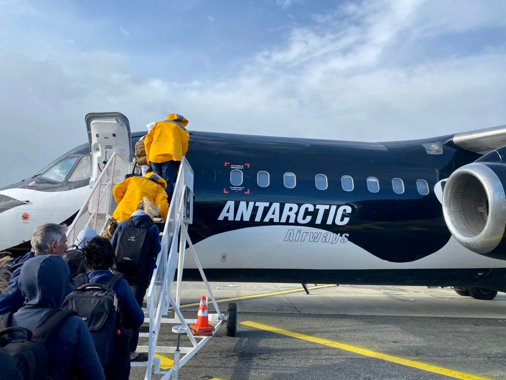 Boarding Antarctic Airways from Punta Arenas, Chile i order to fly to antarctica