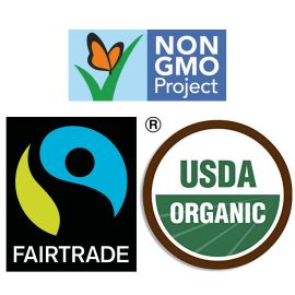 Fairtrade, NonGMO Project and USDA Organic Symbols. All used on socially responsible products.
