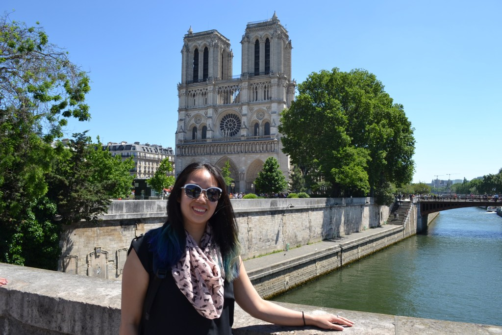 Melissa Ting in front of Notre Dame in Paris, France