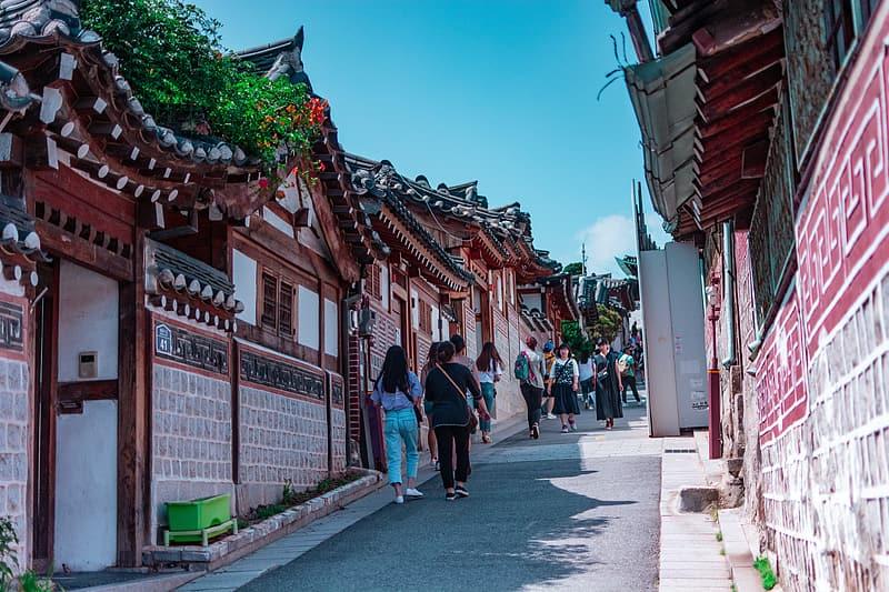 people walking in Seoul