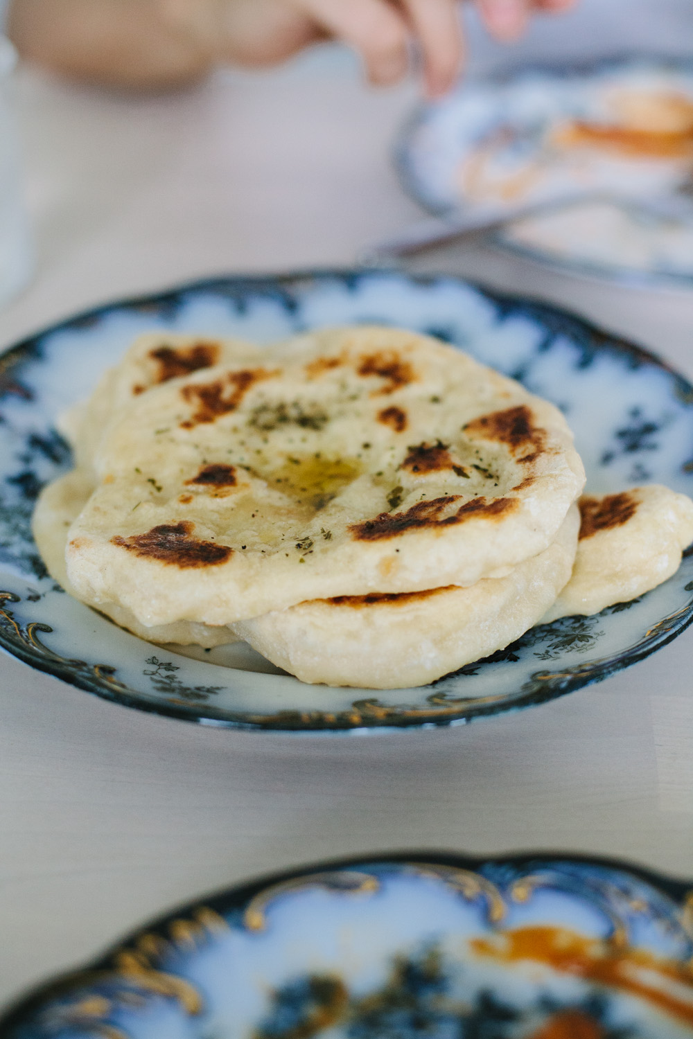 sourdough naan made from discard