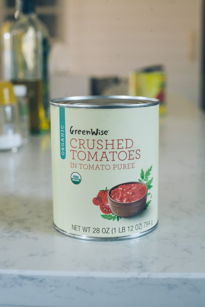 Publix Greenwise crushed tomatoes in tomato puree, used in a side-by-side tomato sauce comparison test / Go Eat Your Bread with Joy