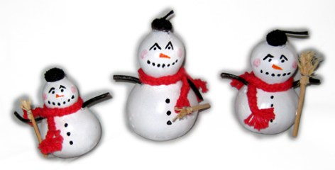 Snowmen painted on Chinese Bottle Gourds.