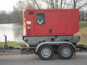 Aggregaat 40 KVa , incl. brandstof, verdeelkast en haspel.