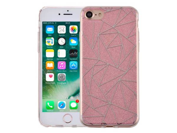iPhone 8/7 Hardcase Glitter Mozaïek Roze