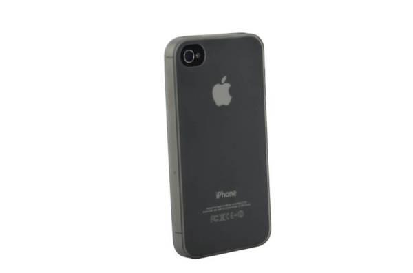 Ultra dunne siliconen gel hoesje iPhone 4/4S zwart transparant