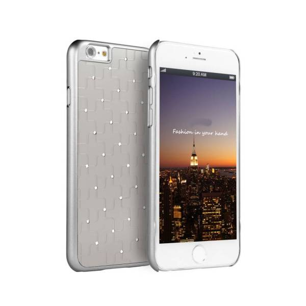 iPhone 6 6S Hardcover Hoesje Kruis Diamantjes Zilver