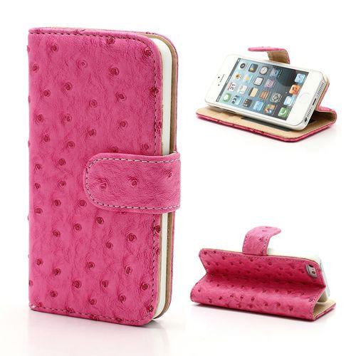 iPhone SE/5S/5 Bookcase Leder Struisvogel Roze