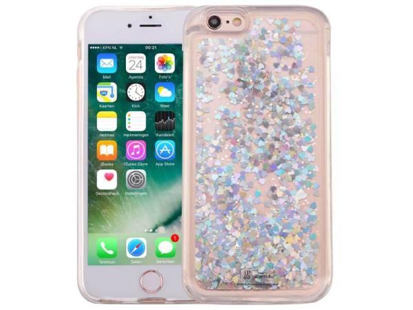 iPhone 6/6S Bewegend Glitter Hoesje Hartjes Hologram Zilver