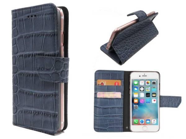 iPhone 6 en 6S Bookcase Hoesje Krokodil Leder Blauw