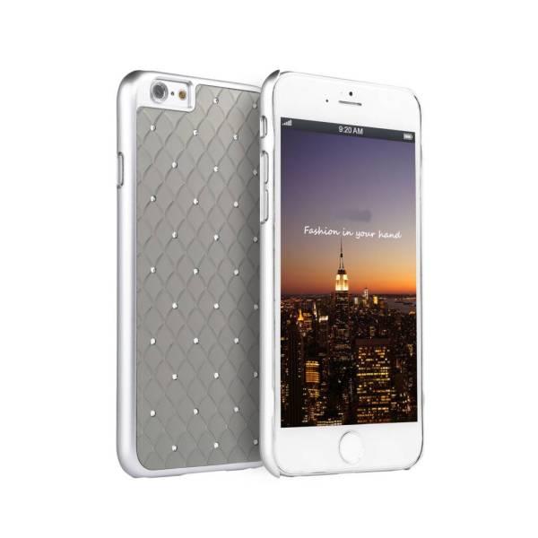 iPhone 6 en 6S Hardcover Case Hoesje Schubben Diamantjes/Strass Zilver