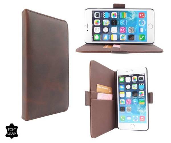 Luxe iPhone 6 Plus Hoesje Bookcase Leder Bruin
