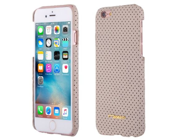 iPhone 6 en 6S Hardcase Hoesje Suede Look Design Beige
