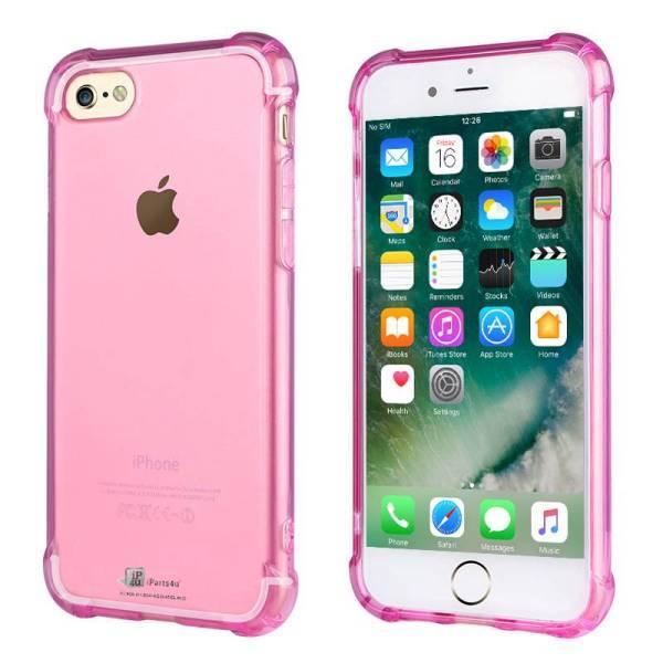 Shockproof iPhone 8/7 Bumper Case Siliconen Hoesje Roze Transparant