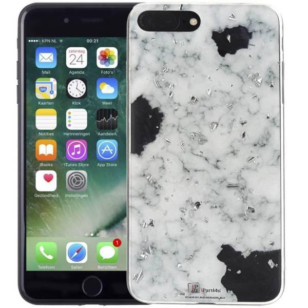 Marmer iPhone 8 Plus en 7 Plus Hoesje Snippers Wit Siliconen