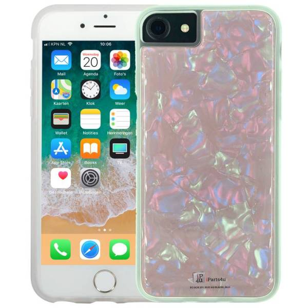 iPhone 8/7/6S/6 Siliconen Hoesje Schelp Snippers Parelmoer Roze