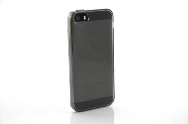 iPhone SE/5S/5 Siliconen zwart Transp beschermt uitgangen