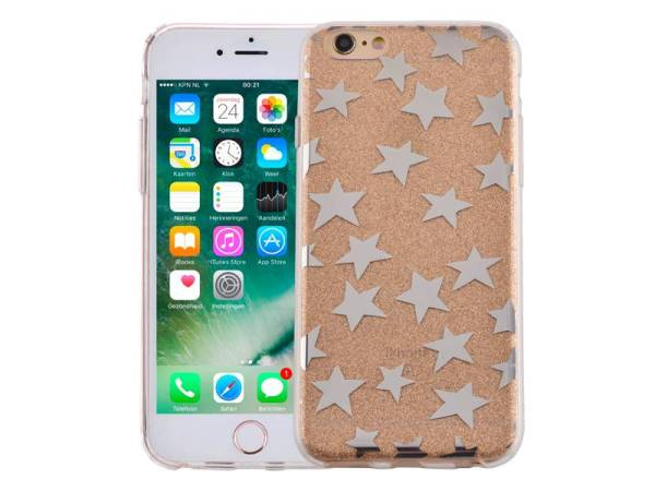 iPhone 6 en 6S Glitter Hoesje Hardcase Sterretjes Goud