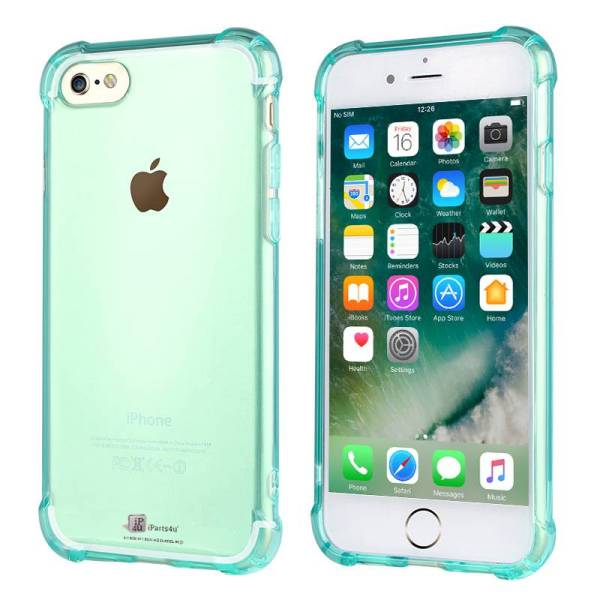 Shockproof iPhone 8/7 Bumper Case Siliconen Hoesje Groen Transparant