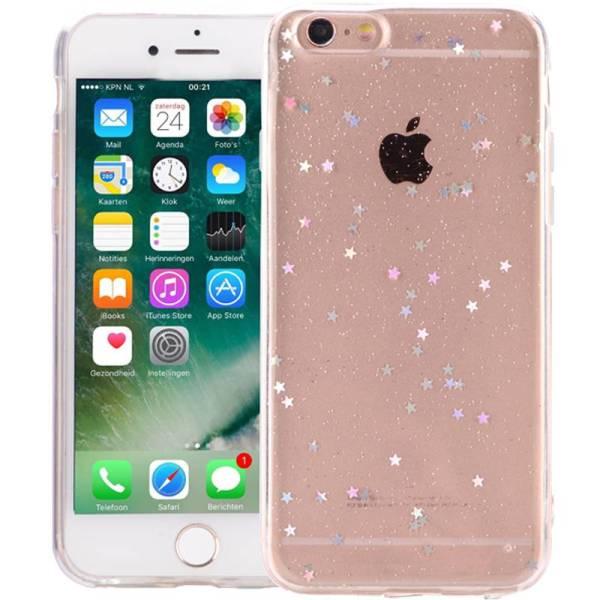 iPhone 6 Plus/6S Plus Glitter Hoesje Silconen Sterretjes Transparant
