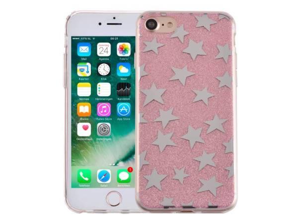 iPhone 8/7 Glitter Hoesje Hardcase Sterretjes Roze