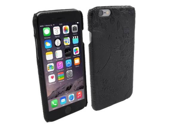 Hardcover Snap Case hoesje iPhone 6 en 6S Bloemen Zwart