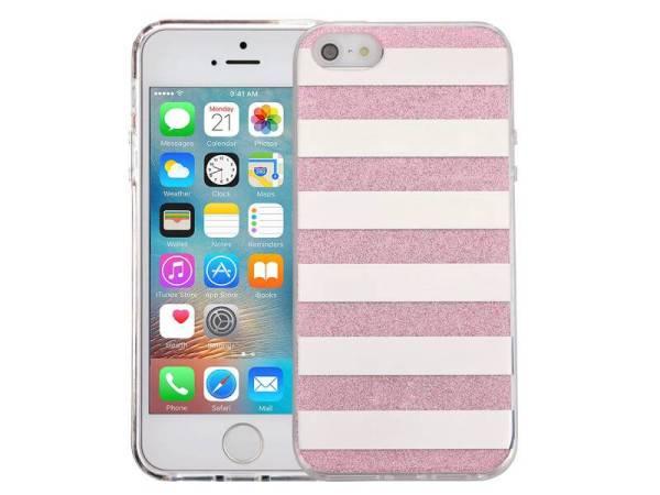 iPhone SE/5S/5 Glitter Hoesje Hardcase Strepen Roze