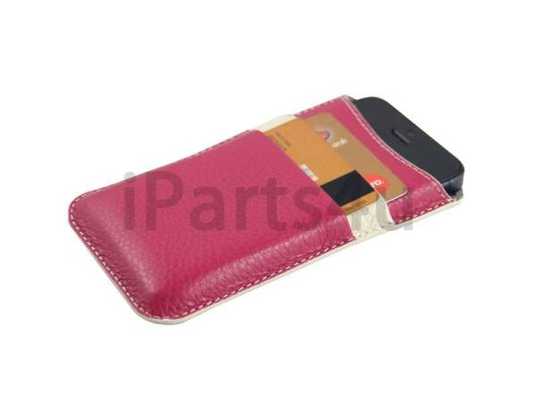 Lederen iPhone 5/5S Pouch Card Sleeve Roze