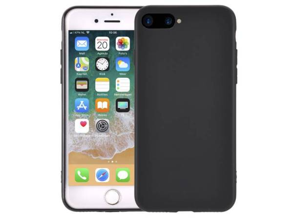 Ultradun iPhone 8 Plus /7 Plus Hoesje Siliconen Mat Zwart