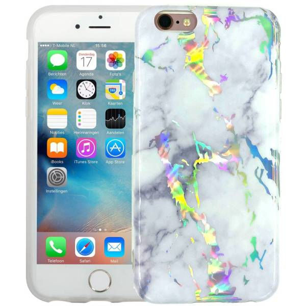 Marmer iPhone 6/6S Hoesje Siliconen Marble Hologram Wit