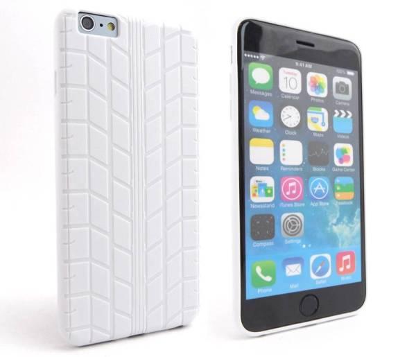 Siliconen Gel iPhone 6 Plus Hoesje Bandenspoor Wit