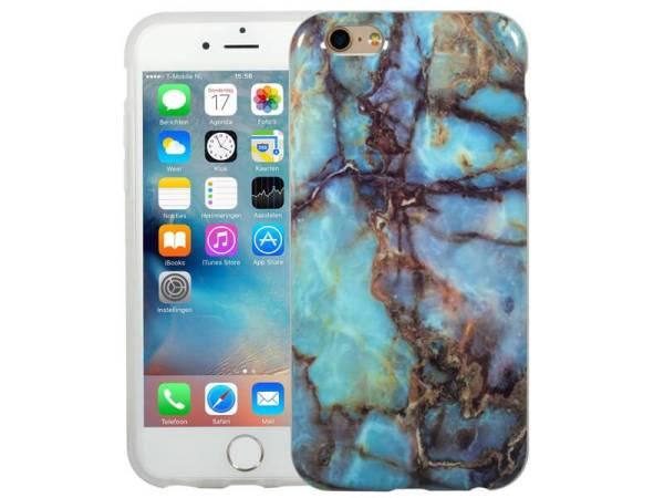 Marmer iPhone 6 / 6S Hoesje Siliconen Marble Blauw