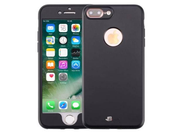 iPhone 8 Plus / 7 Plus Hoesje 360 Siliconen Logo Zwart