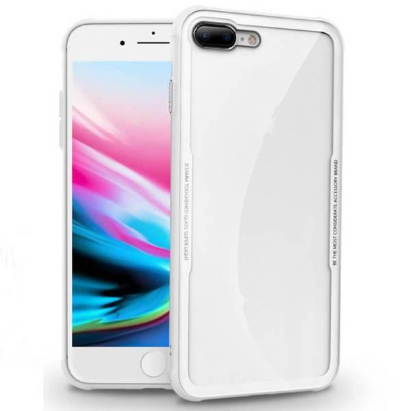 iPhone 8/7 Siliconen Case Gehard Glas Achterkant Wit