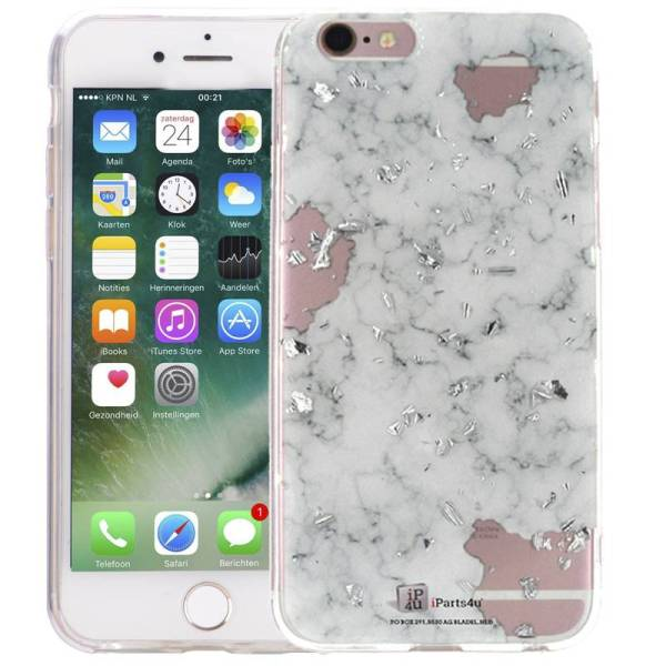 Marmer iPhone 6 en 6S Hoesje Marble Snippers Zilver Wit Siliconen