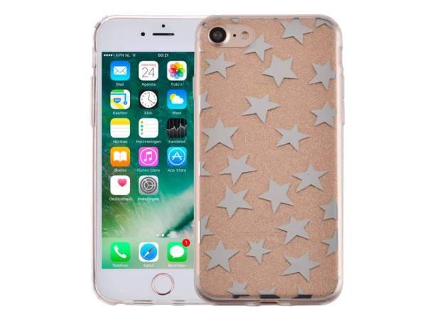iPhone 8/7 Glitter Hoesje Hardcase Sterretjes Goud